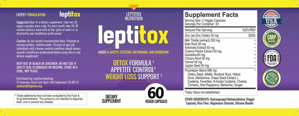 Leptitox Label