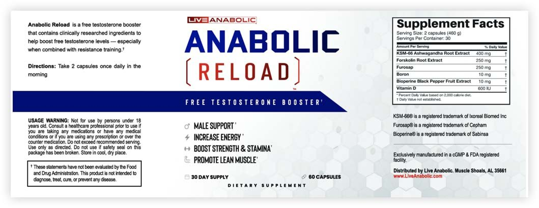 Anabolic Reload Supplement label